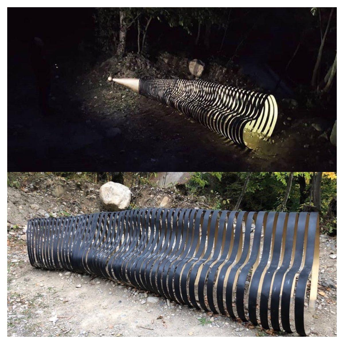 Вандалы испортили стилизованную скамейку в виде рога в Дигорском ущелье