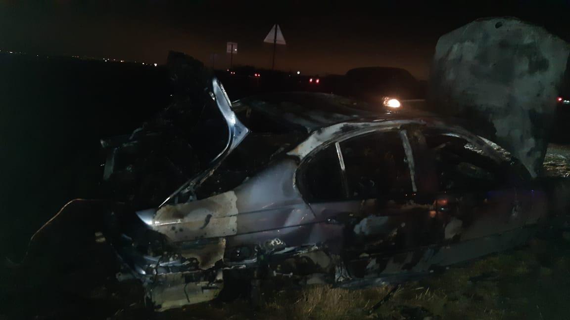 В Пригородном районе в результате ДТП загорелся автомобиль